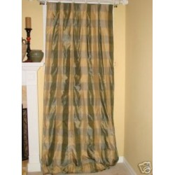 4 Slate buffalo check Silk Drapes Panels Curtains
