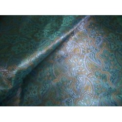 rich green brocade w/ mango / floral 44