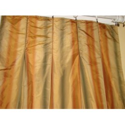 4 Tuscany Gold Striped Silk Drapery Panels INTERLINED
