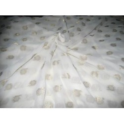 Polyester georgette fabric with metalic silver & gold jacquard~Pure White colour