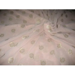 closeout-Polyester georgette with metalic silver & gold jacquard~beige colour