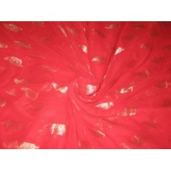 Polyester georgette fabric with metalic silver & gold jacquard~Bright Red colour