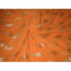 Polyester georgette fabric with metalic silver & gold jacquard~Sunny Orange colour