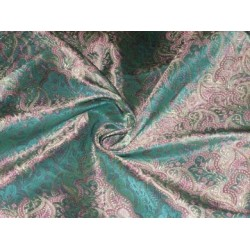 "Silk Brocade 44""Sea green,pink & gold Colour"