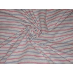 Baby Pink & Lilac colour horizontal stripes~Chambray Linen~Width 59