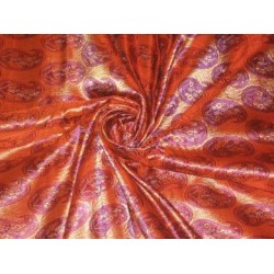 Silk Brocade~Orange & Gold paisleys design~Width 44