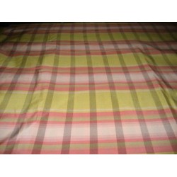 Awesome lime yellow,baby pink and white plaids~silk taffeta fabric 54