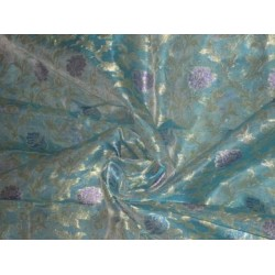 Turquoise blue ,Motif Color Metallic Gold,blue & lavender  floral