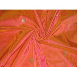 Iridescent Orange x Pink colour silk fabric with zari motifs~Width 44