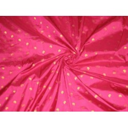 Hot Pink colour silk fabric with zari paisleys motifs~Width 44