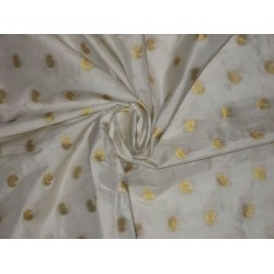 Pure White colour silk fabric with zari paisleys motifs~Width 44