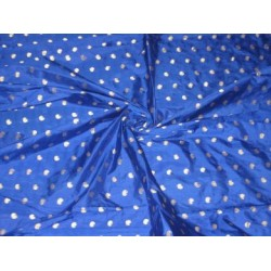 Royal Blue colour silk fabric with zari paisleys motifs~Width 44