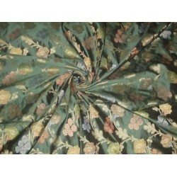 Emerald Green silk dupioni with floral design jacquard~Width 44