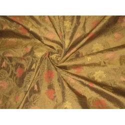 Acorn Gold colour silk dupioni with floral design jacquard~44
