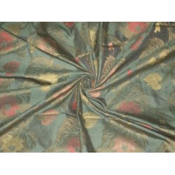 Dark Bottle Green Silk Dupioni with floral design jacquard~44