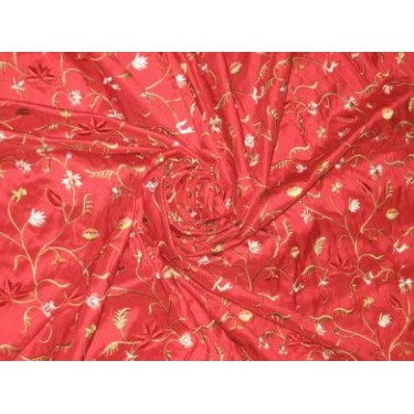 Extremely high quality silk dupioni silk 54-Red colour with floral embroidery