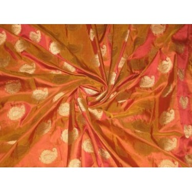 Pure Silk fabric with jacquard paisleys design~Orange colour with gold paisleys~Width 44