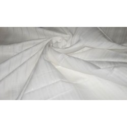 "White linen with  satin stripes / herribones & very slight lurex yarn -58"" width"