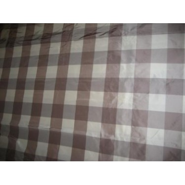 """SILK TAFFETA FABRIC Ivory & aubergine x brown colour plaids 54"""" wide sold by the yard"""