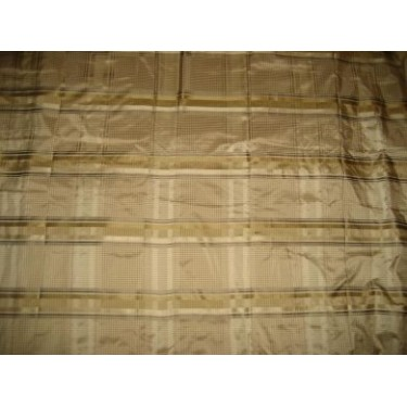 "SILK TAFFETA FABRIC 54""-Beige,Gold and Cream colour plaids"