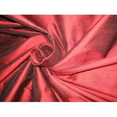 Elegant Scarlet Red/Black Silk Dupioni Fabric 54