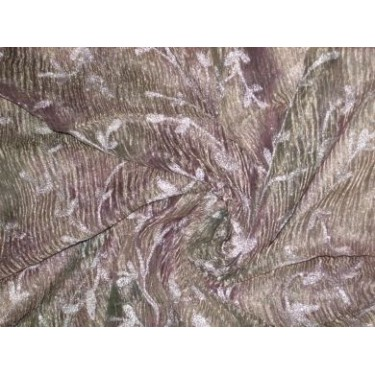 "36 INCHES WIDE~ CRINKLED""[crushed]sheer silk mettalic tissue organza fabric 36"" width~Floral embroidery"