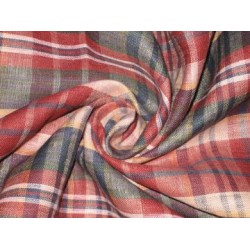 Multi colour plaids~Linen fabric~44