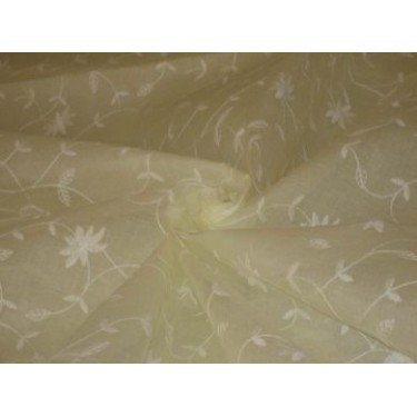 100 % Cotton organdy fabric embroidered~Lime Yellow colour w/white machine embroidered