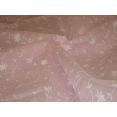 100 % Cotton organdy fabric embroidered~baby pink colour w/white machine embroidered