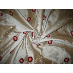 SILK DUPIONI embroidery w/ velvet flowers--Iridescent green