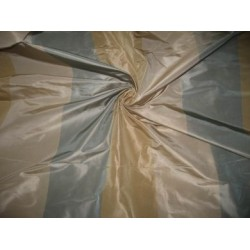 Beige,Gold and Steel Grey stripe Silk Taffeta fabric~Width 54