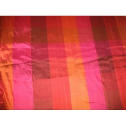 Pink,Red & Orange Colour Plaids~Silk Dupioni fabric~Width 54""