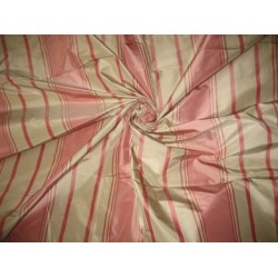 "Candy Pink and Beige colour stripe Silk Taffeta Fabric TAFS24 54"" wide sold by the yard"