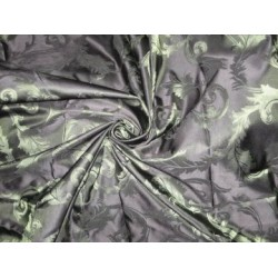 Black colour with olive green jacquard design~POLYESTER SILK TAFFETA FABRIC 54