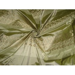 Apple green & sea green colour stripes~gold jacquard design~ SILK TAFFETA FABRIC 54