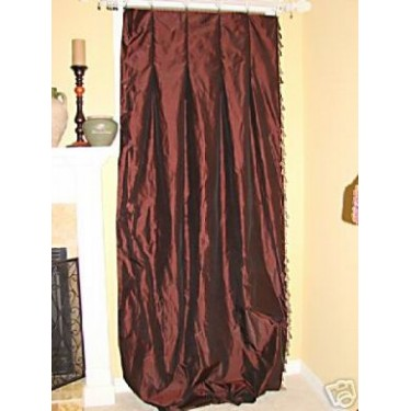 4 Chocolate Dupioni Drapery Panels w/tassels INTERLINED
