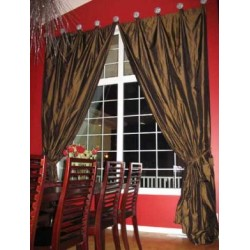 silk taffeta bright copper brown drapes~home decor