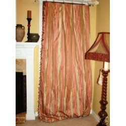 4 Wine Striped Silk Drapery Panels tassels INTERLINED