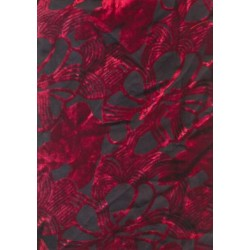 Polyester viscose burnout black / red Velvet fabric 44