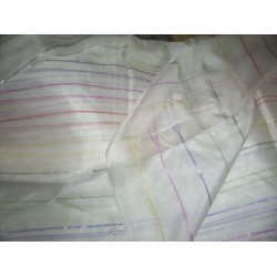 Super soft  silk fabric w/ coloured stripes