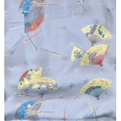 japanese satin printed fabric -fan design
