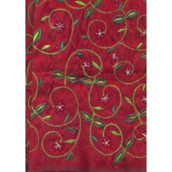 burgundy wine dupioni embroidered