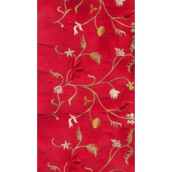 blood red dupioni embroidered