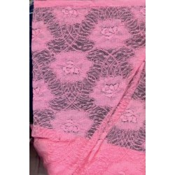 coral pink net jacquard lace fabric