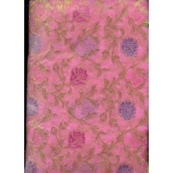 Jacquard silk Organza fabric Metallic Gold,pink