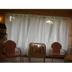 white organdy curtains-stiff finish-