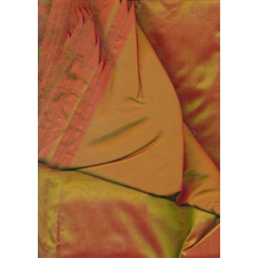13.35 momme SILK rich rust / green iridescent silk 44""