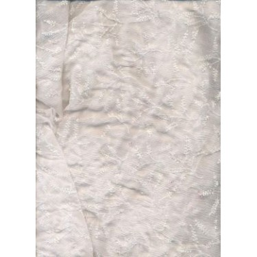 "White silk chiffon fabric 44"" embroidered with white matching beads"