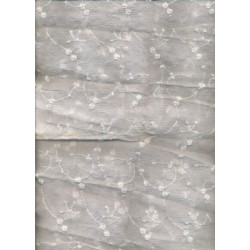 "White silk chiffon fabric 44""  embroidered with white matching flowers  sold by the yard"