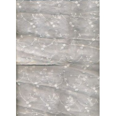 """White silk chiffon fabric 44""""  embroidered with white matching flowers  sold by the yard"""